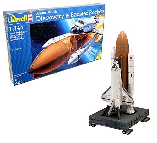 Revell Modellbausatz Flugzeug 1:144 - Space Shuttle Discovery & Booster Rockets im Maßstab 1:144, Level 4, originalgetreue Nachbildung mit vielen Details, Raumfahrt, Weltraum, 04736