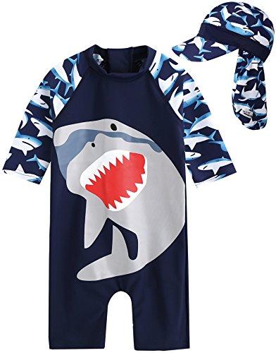 Vaenait Baby 56-80 Baby Badeanzug Infant Jungen Rashguard Swimwear Mit Kappe Cooling Jaws Baby Baby L