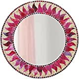 A Round Mirror With Frame Hand Made Glass Mosaic Red Hot Sun Design (Over All Frame Size 60 Cm X 60 Cm)