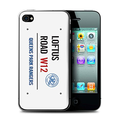 Officiel Queens Park Rangers FC Coque / Etui pour Apple iPhone 4/4S / Pack 8pcs Design / QPR Loftus Road Signe Collection Blanc/Bleu