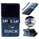 Etche Asus ZenFone 2 (ZE551ML/ZE550ML) 5.5 Zoll Flip Cover Hülle,Asus ZenFone 2 (ZE551ML/ZE550ML) 5.5 Zoll PU Leder wallet SchutzHülle, niedlich bunt Mond Liebe muster Handytasche HandyHülle Etui Tasche mit Standfunktion Kredit Kartenfächer für Asus ZenFone 2 (ZE551ML/ZE550ML) 5.5 Zoll + 1x Diamant Staub Stecker + 1x Blau Eingabestift