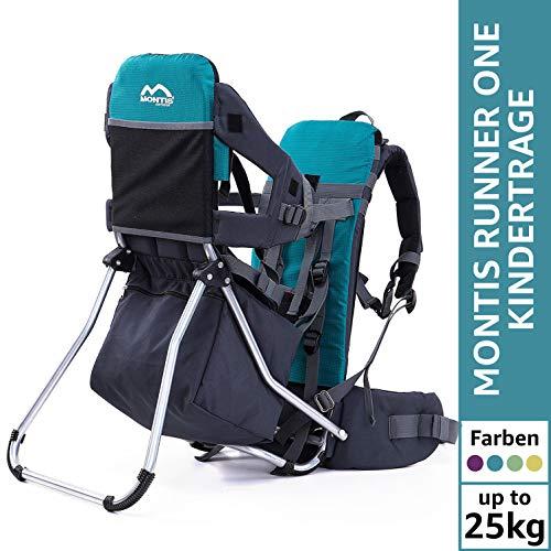 Montis Runner One Kindertragerucksack bis 25kg Gewicht - die Einstiegs Kraxe/Kindertrage für beide Elternteile - erweiterbar durch Regenschutz, Fußrasten & Wickelmatte, TÜRKIS -