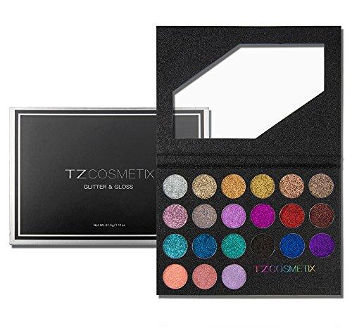 TZ Cosmetix – Pro 18 Paillettes Ombre à paupières et 3 Paillettes brillant à lèvres Diamant Poudre Palette de maquillage tous les 21 Couleurs Tz-21-wz
