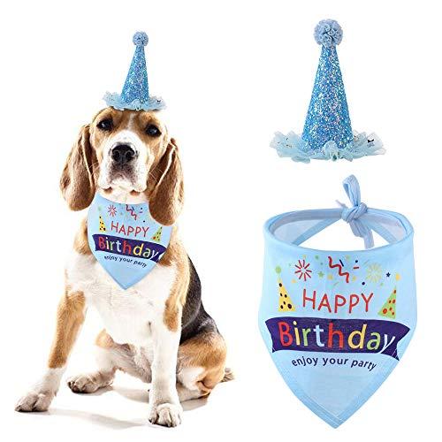 irthday Bandana Schal und niedlichen Partyhut Mädchen Junge Set-einstellbare Happy Hat & niedlichen Dreieck Baumwolle Hund Schal, Haustier Geburtstagsgeschenk Dekoration Set ()