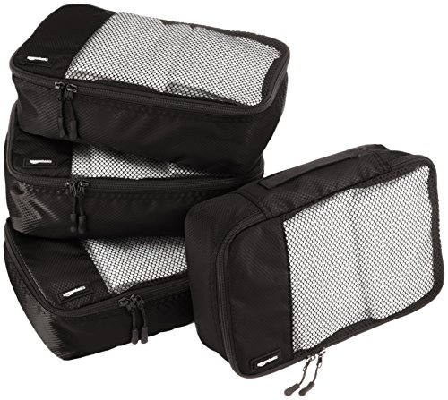 AmazonBasics Packing Cubes/Travel Pouch/Travel Organizer - Small, Black (4-Piece Set)