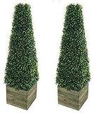 Home Essentials - Juego de 2 árboles artificiales, aprox. 90 cm, diseño de pirámide