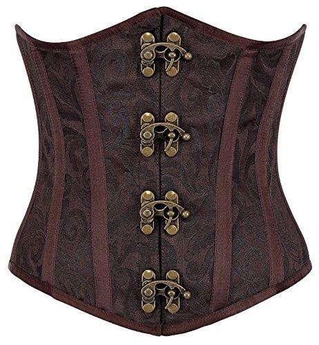 R-Dessous Burlesque Unter Brust Corsage Taillen Schnür Korsett Mieder Bustier Top Gothic Steampunk, Braun, Herstellergroesse XXL (44) (Mittelalterliche Kostüm Korsett)