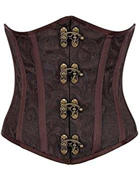 r-dessous Burlesque Unter Brust Corsage Taillen Schnür Korsett Mieder braun Bustier Top Gothic Steampunk