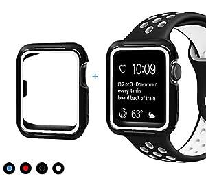 maison de rêve Apple Watch Armband und Hülle 42mm, Soft Silikon Sport Ersatz Uhrenarmbänder mit Case für Apple iWatch Serie 3/Serie 2/Serie 1