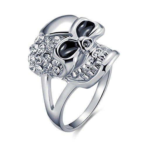 Anillo de calavera para hombre y mujer, chapado de platino fundido y con circonitas, estilo gótico de Bodya