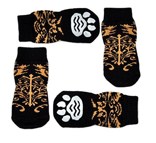 Posch Noppen Knit Socken für Haustiere mit Traction Sohle für Innen-Wear, Rutsch auf Pfotenschutz, XXL, Schwarz/Braun