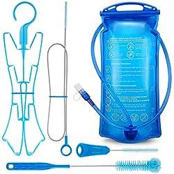 Tragbare 2 Liter Trinkblase,Wasserblase mit 4 in 1 Blasenreinigungsset für Trinkrucksack, FDA zugelassen, tadellos und BPA-frei TPU Material, große Öffnung.