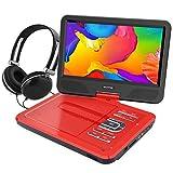 WONNIE 10.5' Tragbarer DVD-Player, Schwenkbaren Bildschirm, HD Display 4-5 Stunden Akku, USB / SD Slot Mit Kopfhörer, Perfekte Geschenke für Kinder (Rote)
