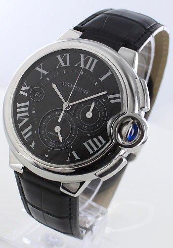 Cartier Herren Ballon Bleu De Cartier Automatik Chrono Grau flinque Zifferblatt echtes schwarzes Alligator