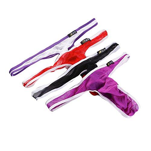 Herren Strings Slips Unterwäsche Mesh Transparent Bikini Tangas Unterhosen 4er Pack (L, Mehrfarbig)