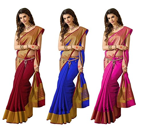 Indian Beauty Tassar Silk Combo Of 3 Saree With Blouse Piece (Ibcombo-101_Multicolor_Free Size)