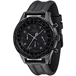 Detomaso Firenze Men's Quartz Watch with Black Diamond C Forza Di Vita Chronograph Quartz Leather DT1068