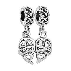 Idea Regalo - Ciondolo Uniqueen a forma di cuore compatibile con braccialetti Pandora, Troll, Chamilia., rame, cod. DPC_MY763