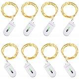 Ledgle Cadenas de luces 8PCSx3.9ft 24 LED, blanco cálido, con pilas, decoración de boda, fiestas, navidad, centros de mesa, estantería, pack de 4 guirnaldas LED