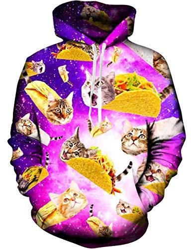 Loveternal Pizza Pullover 3D Druck Hoodie Katze Kapuzenpullover Langarm Casual Sweatshirt für Frauen Männer S/M