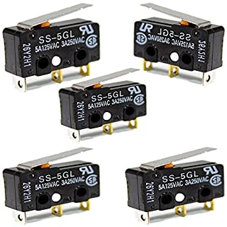 Micro Switch, 5 Piece 5A 250V Limit Switch, 3 Pins Long Straight Hinge Lever, Arm Push Button Momentary Actuator(Black)