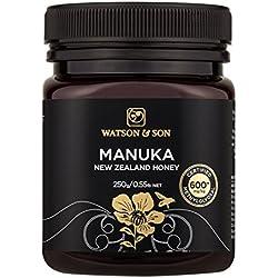 Watson & Son zertifizierter Manuka-Honig MGO 600+ (250g) • Premium Qualität • reines Naturprodukt • antibakteriell aktiv • mit kontrolliertem Methylglyoxal-Gehalt • Direktimport aus Neuseeland