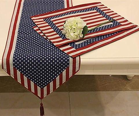 Campagne Set de table en coton et lin–Memorecool Drapeau étoile