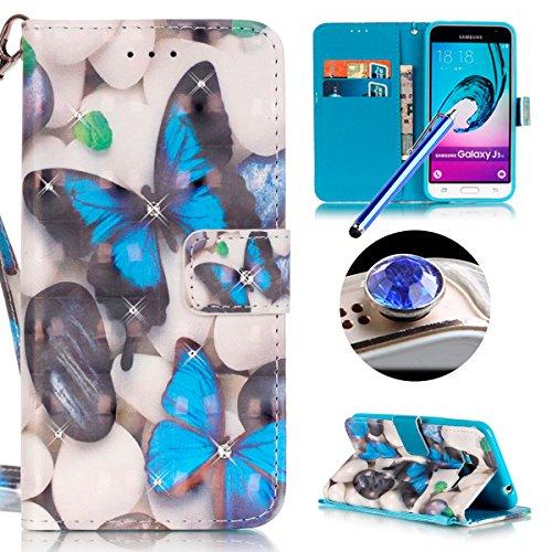 Samsung Galaxy J3(2016) Housse Coque de Téléphone, Etsue Cute Mode Colorful Design Flip Housse PU Cuir Coque Stand Housse de Protection pour Samsung Galaxy J3(2016),Coque est Bookstyle Folio Motif [Bleu de papillon] et Cristal Cloutés pour Samsung Galaxy J3(2016) Joindre 1 x Corde + 1 x Bleu stylet + 1 x Bling poussière plug (couleurs aléatoires)