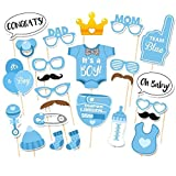 lzn 25 x Fotorequisiten & Fotoaccessoires, Baby Shower Party Baby Photo Booth, Photo Booth Props Baby Blau