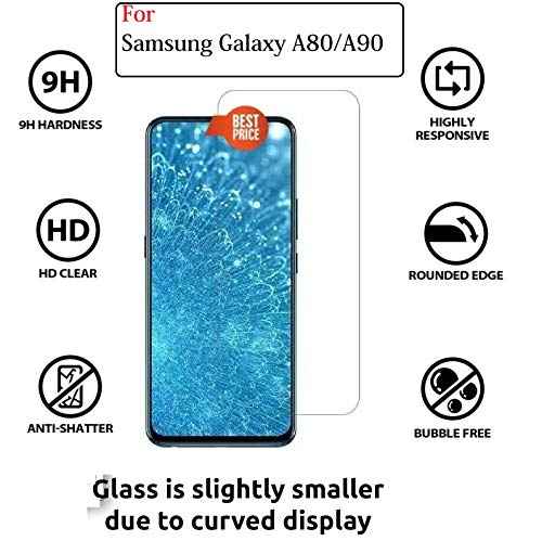 JGDWORLD (Pack of 2) 2.5D Clear HD Tempered Glass Screen Protector For Samsung Galaxy A80 (2019) Full Screen Coverage (Except Edges) With Easy Installation Kit