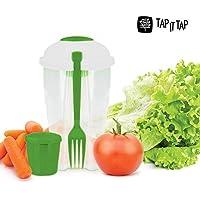 Appetitissime Tap It Ensaladera para Llevar con Tenedor y Salsera, Blanco y Verde, 11 x 11 x 19 cm