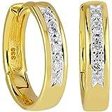 Diamond Line Damen-Diamant-Creolen 333 Gelbgold teilrhodiniert 8 Diamanten ca. 0,08ct. weiß Piqué (W-PI)