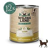 Wildes Land | Nassfutter für Hunde | Nr. 2 Huhn | 12 x 800 g | mit Karotten, Zucchini, Wildkräutern & Distelöl | Glutenfrei | Extra viel Fleisch | Beste Akzeptanz und Verträglichkeit