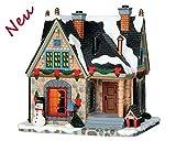 Lemax 65100 - Turner Estate - Beleuchtung & Animation (Inside Scene) - Beschneite Hütte Merry Christmas - NEU 2018 - Caddington Village - LED Porzellan Haus - Kleine Weihnachtswelt / Weihnachtsdorf