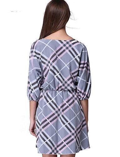 PU&PU Robe Aux femmes Gaine Vintage / Street Chic,Tartan Col Arrondi Au dessus du genou Polyester GRAY-XL