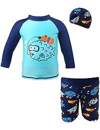 Bebé Trajes de baño 3 piezas Beachwear Camisetas Bañadores con tapa bañador Vine (Altura 80-130 CM)