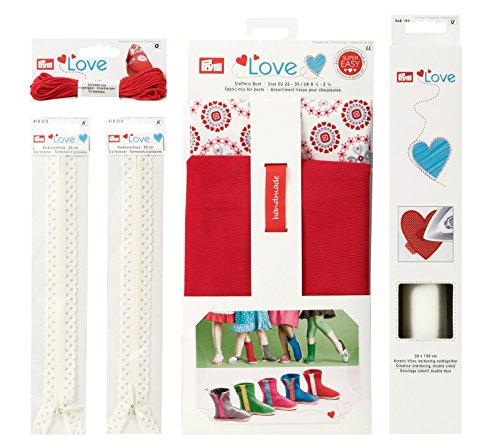 Prym Love 651805 lenzuola a stivaletti - Espadrilles creativo filo, decorazione-cerniere, creativo-in tessuto non tessuto, rosso