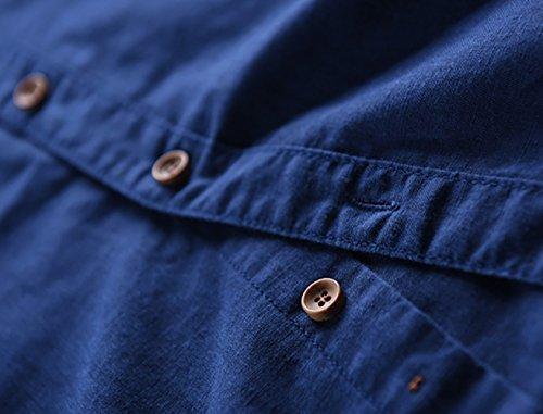 Icegrey Camicia Uomo Camicie di Lino a Maniche Lunghe Colore Solido Camicie da Spiaggia Profondo Blu