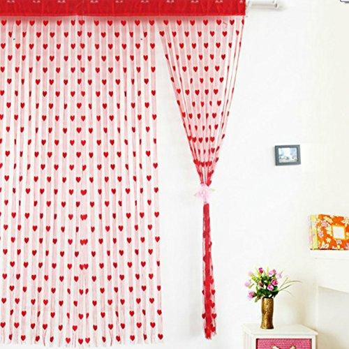 Fadenvorhang mit Herz-Motiv, Fenster-Teiler, Durchsichtig, Vorhänge - romantische Liebesherzen - Vorhang Spaghetti dichte Perlen Vorhänge für Türen, rot, Free Size