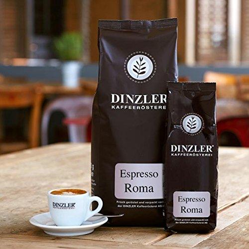 Dinzler Kaffeerösterei Espresso Roma 1kg | ganze Espressobohnen | Ideal für Siebträgermaschine & Vollautomat | Kräftiger Espresso | fantastische Crema