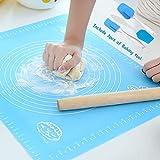 JOYHILL Silikon Backmatte Backen Premium wiederverwendbar antihaftbeschichtet Rollen Rutschfeste Backunterlage Arbeitsmatte mit Messanleitung (39,5 x 49,5 cm) zum - Backmatte - Knetmatte - Keksmatte