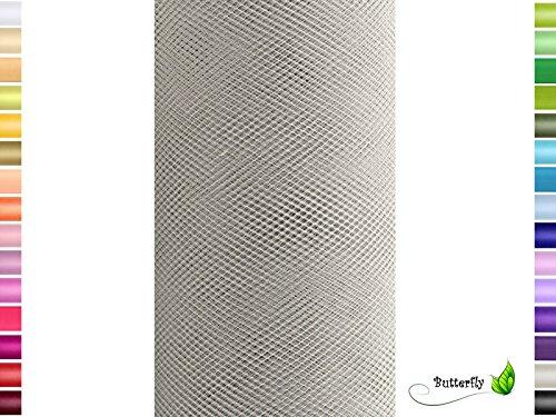 Creativery 9m Tüll Deko Stoff 50cm Tüllband Netz Rolle Tüllstoff Tütüs Hochzeit hell Silber grau 012H