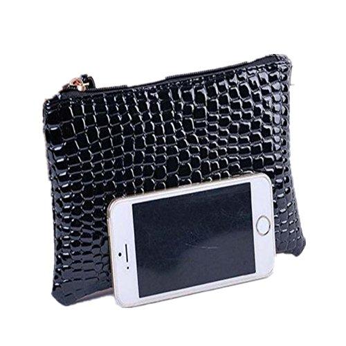 DAY.LIN Damen Krokodil-Muster Geldbörse Handtasche Frauen Krokodilleder Clutch Handtasche Tasche Geldbörse (Schwarz) -