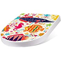 BANJADO Design Toilettensitz mit Absenkautomatik, WC-Sitz weiß, Klodeckel mit Edelstahl Scharnieren, Toilettendeckel mit Motiv Lustige Fische