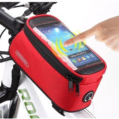 Showkoo Bicicletta Borsa anteriore, bicicletta Climb Mountain Custodia con cassa trasparente del telefono 5.5 pollici - Resistente all'acqua Bike pack (Rosso)