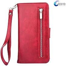 Custodia portafoglio BORA iPhone 7 con custodia posteriore smontabile, slot per carte, tasca di contanti, visione facile, stile Folio, protegge lo schermo dal graffio.