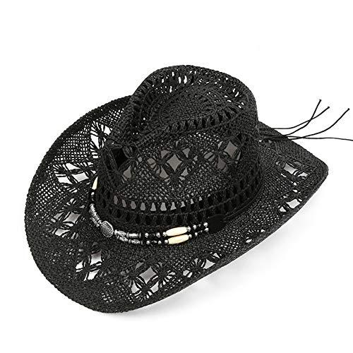 Unisex-Sonnenschirm-Hut, Sommer atmungsaktiv Sonnenhut lässig Wild West Cowboy-Hut, Outdoor Urlaub Bootfahren Strand einkaufen - schwarz-Black