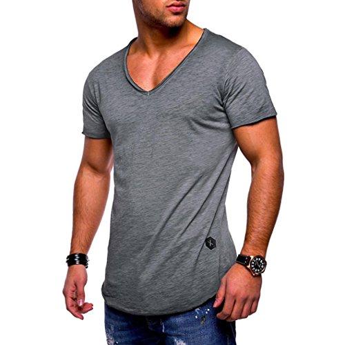 Produktbild friendGG Herren T-Shirt Slim V-Ausschnitt Kurzarm Muscle Cotton Casual Top Bluse beiläufige Reine T-Shirt (M-3XL) (XL,  Grau)