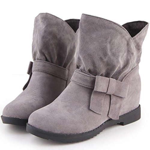 RAZAMAZA Stivali Pull On Donna Casual Scarpe Height Increasing 1235 Grey