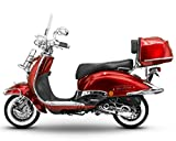 Retro Roller Easy Cruiser Chrom 125 ccm weinrot Motorroller Scooter Moped Mofa Easycruiser rot